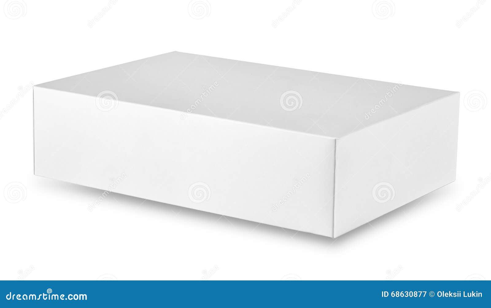 Closed White Rectangular Cardboard Box Stock Photo - Image: 68630877