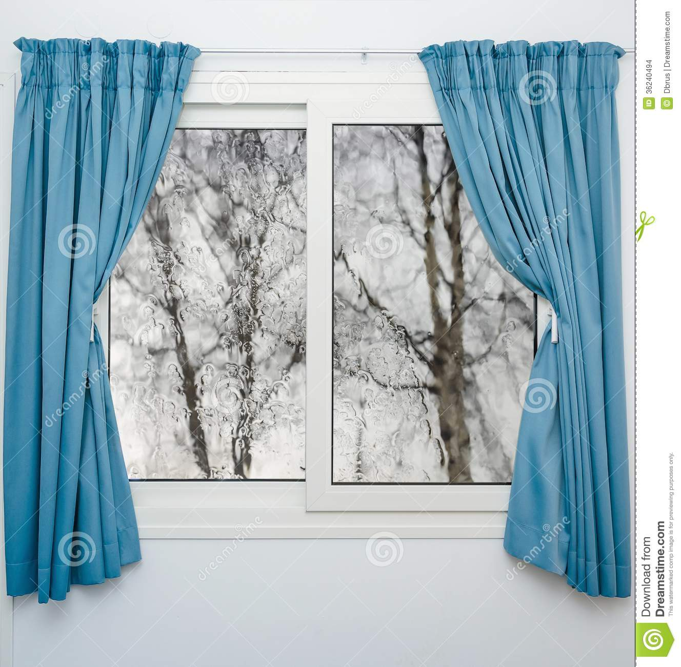 Download Closed Window Curtains In Rainy Autumn Weather Stock Photo