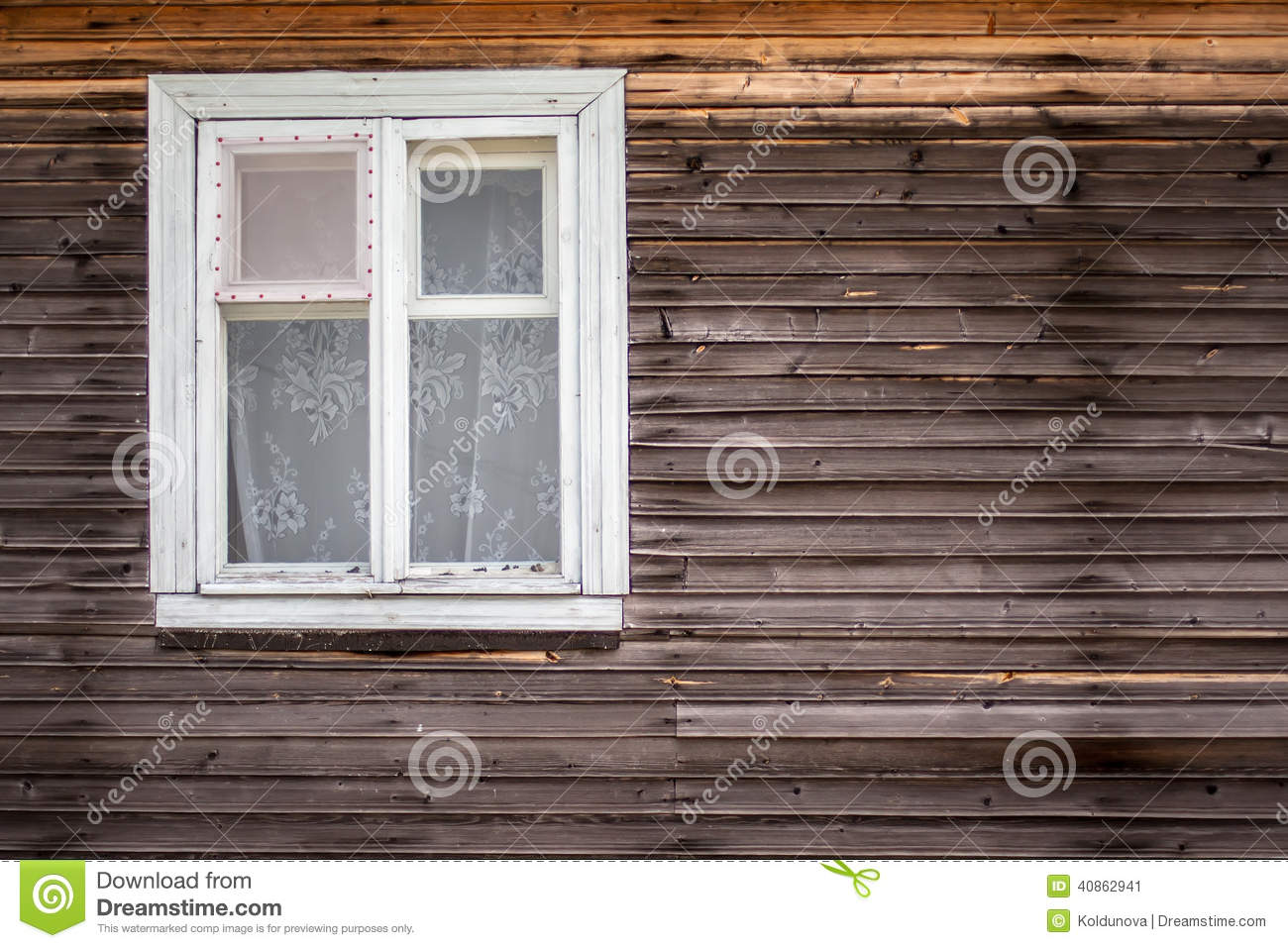 Closed Window Of The Old Log House Made Of Wood Stock