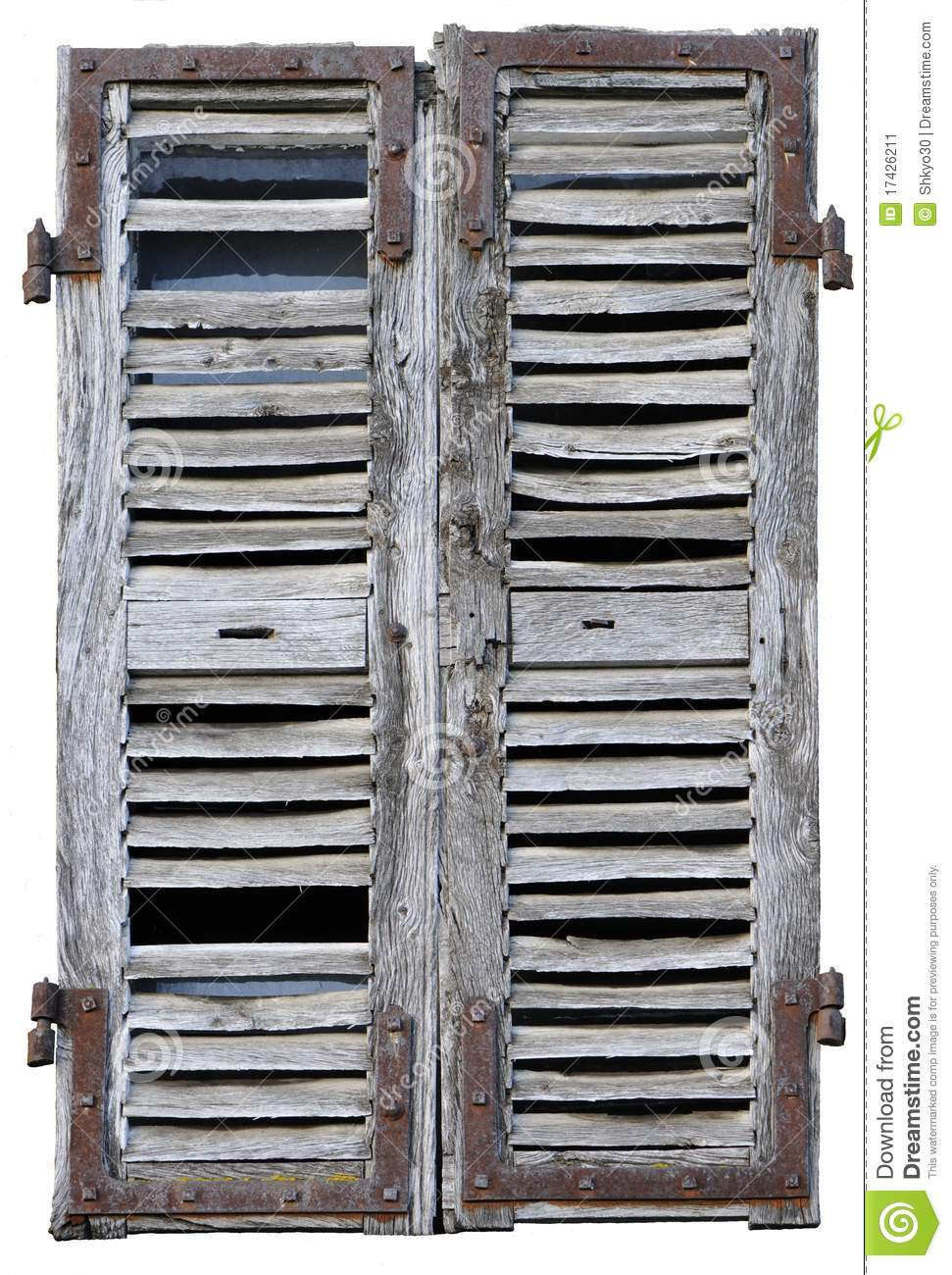 Wood Shutters Closed : Closed window with old wood shutters stock image