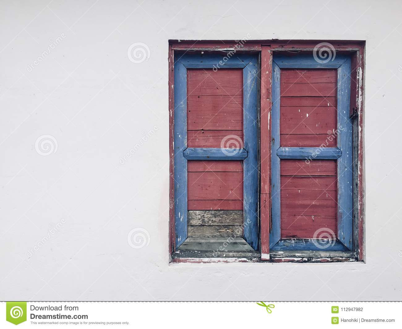 Closed Window Vintage Wooden Shutter Isolated On White Wall