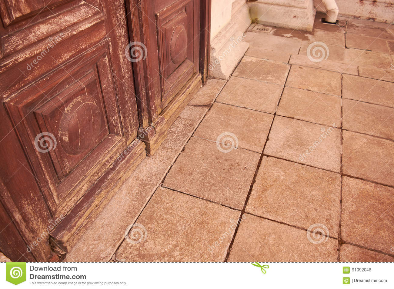 The Closed Wooden Door Stock Photo Image Of Entrance 91092046
