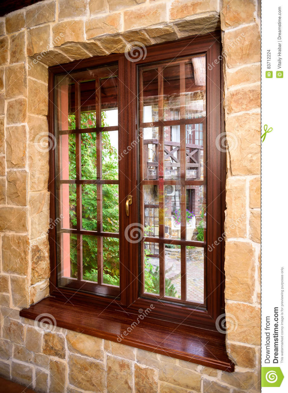 Old Closed Wood Glass Window Frame With Clouds Royalty Free Stock Image