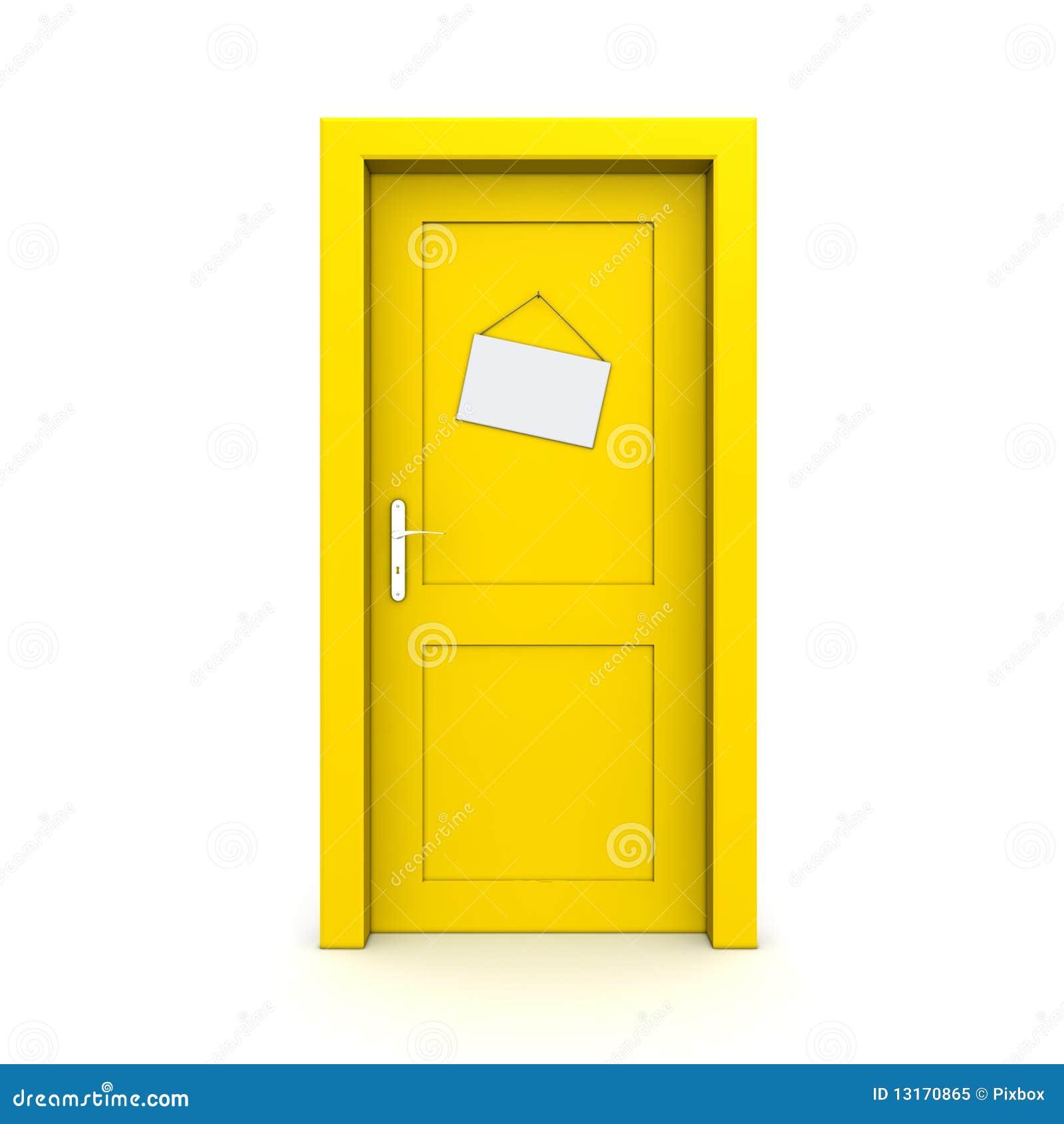 Closed Yellow Door With Dummy Door Sign Royalty Free Stock Photo ...