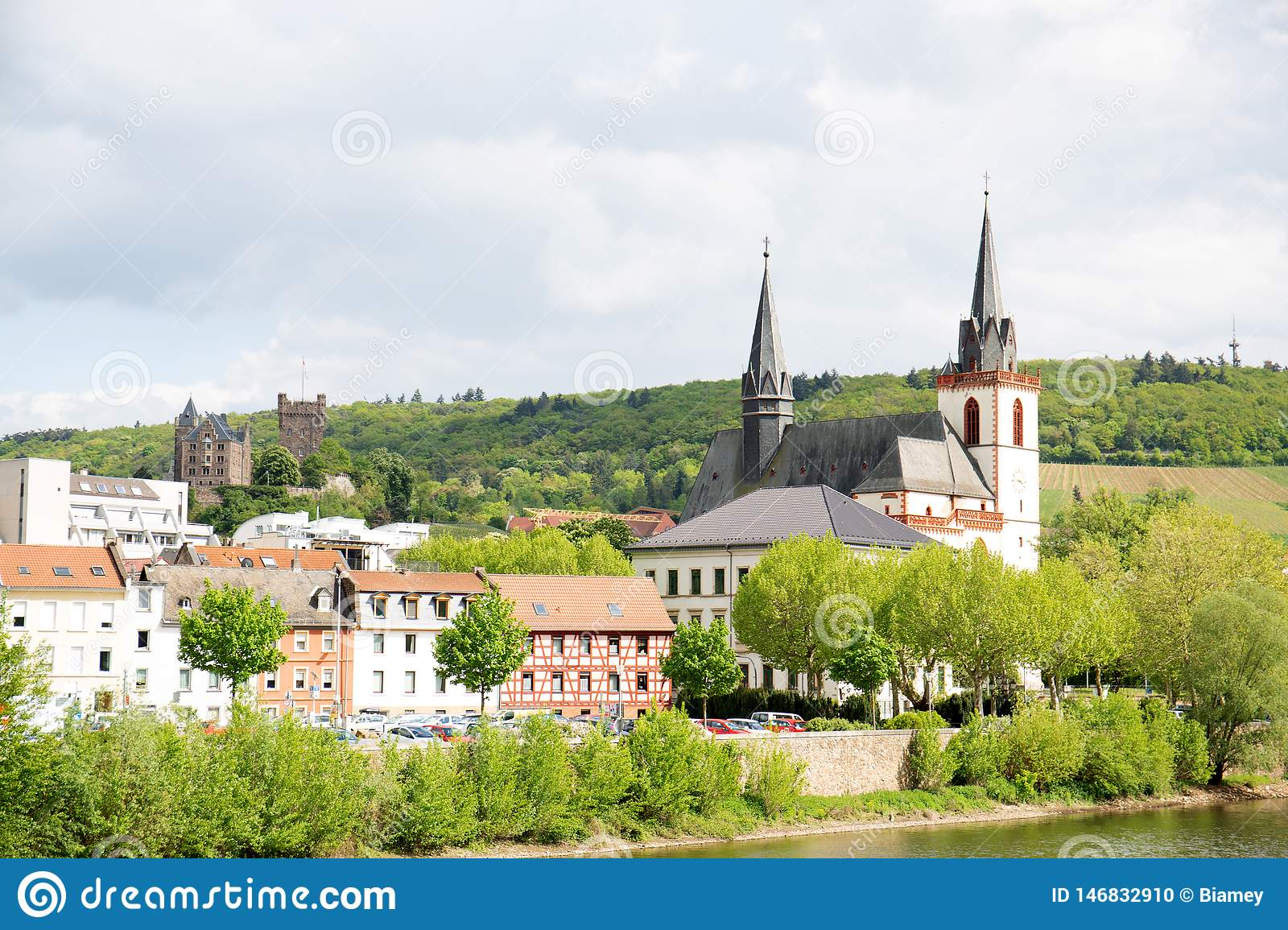 Closer view on the church steeple and the building exterior in bingen am main in hessen germany