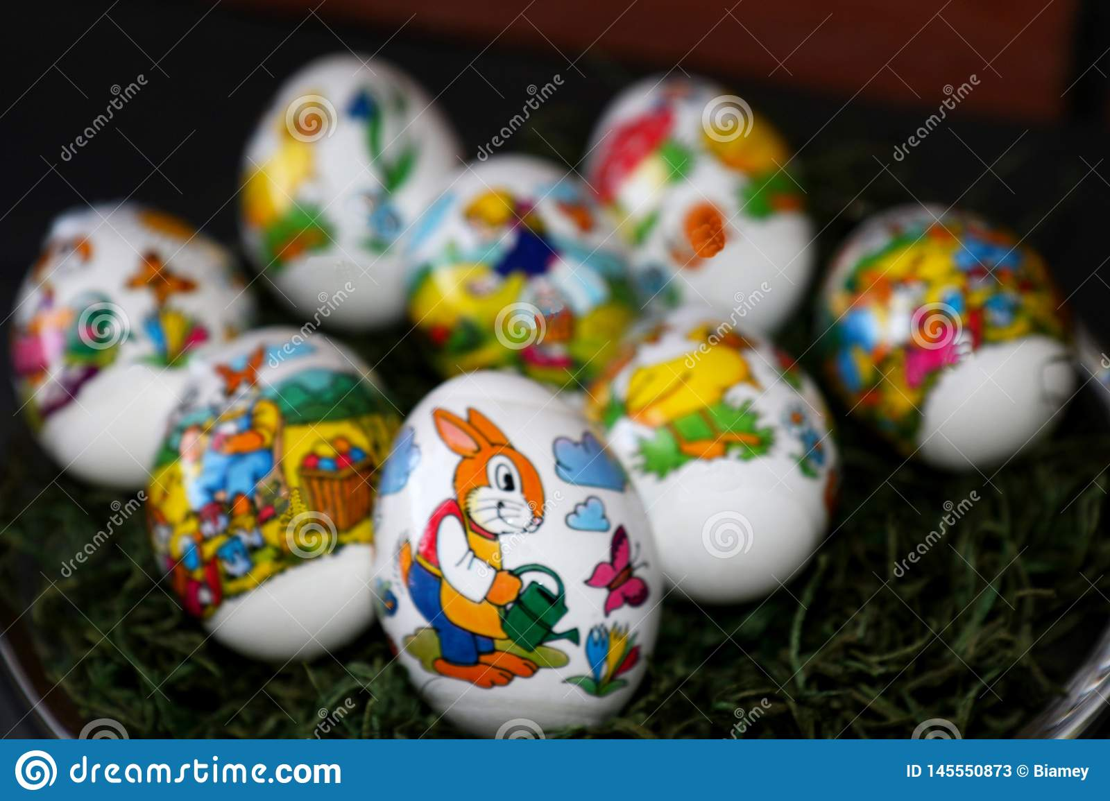 Closer view on an easter egg with easter bunny