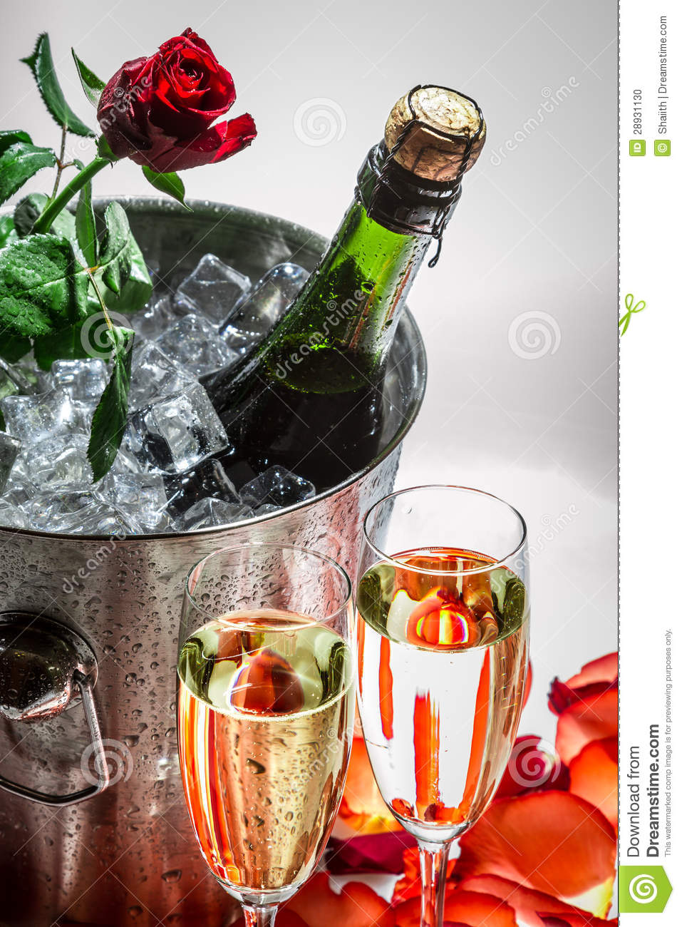 Closeu Of Red Rose And Cold Champagne For Valentine S Day