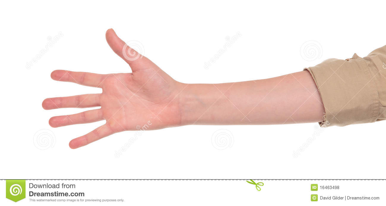 closeup of arm hand making number five sign stock photo image