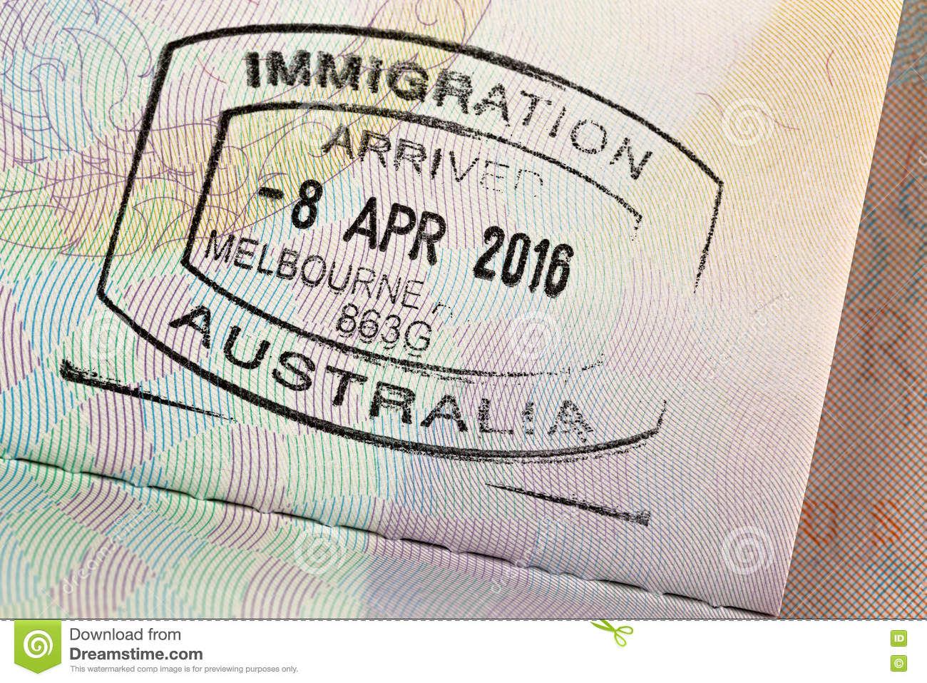 Closeup Of Arrival Entry Stamp On Passport For Immigration Trave