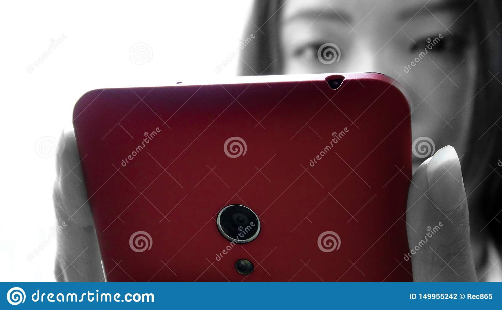 Closeup asian woman used tablet smartphone device