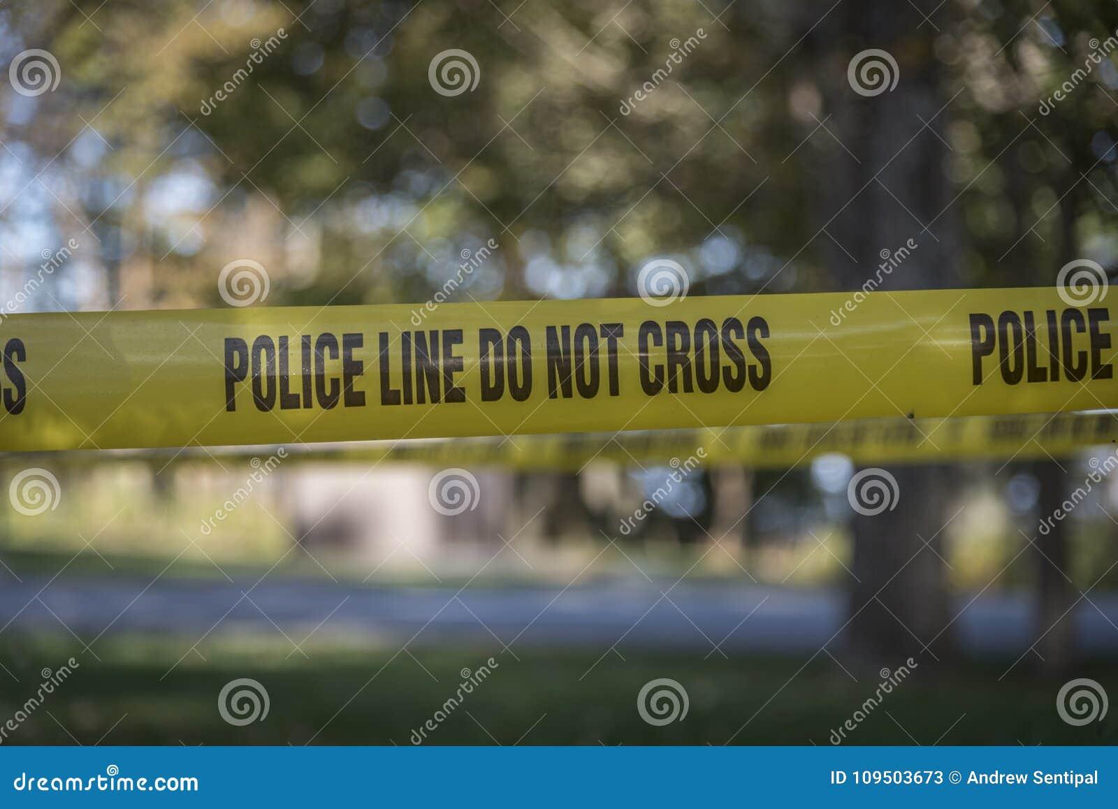Closeup av brottsplatsbandet