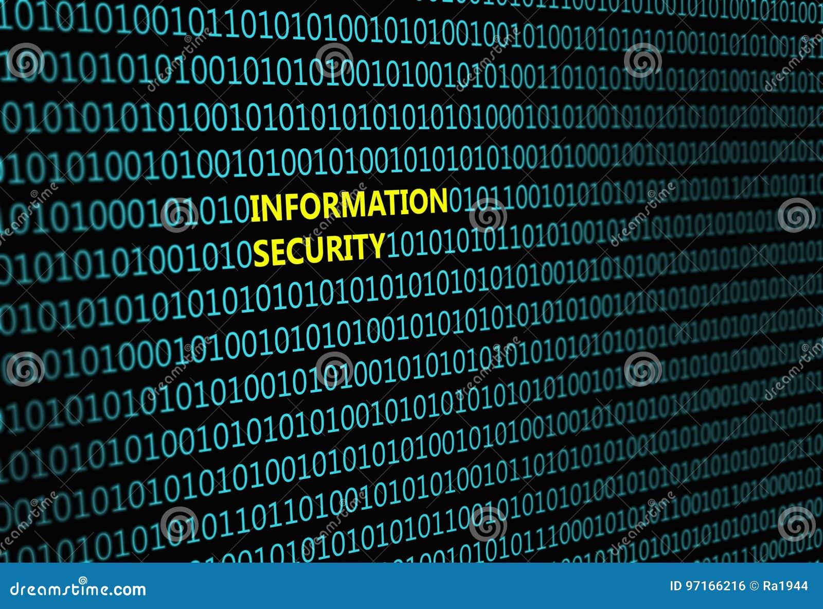 Closeup av den binära koden, med `en för säkerhet för information om inskrift`,