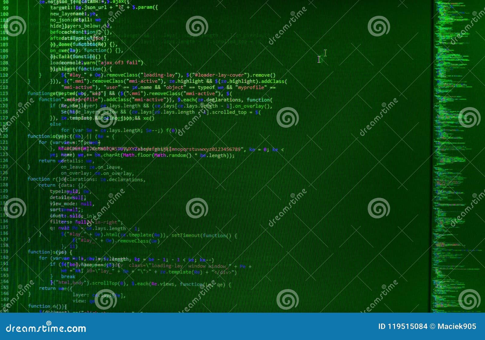 Closeup av den Java Script, CSS- och HTML-koden