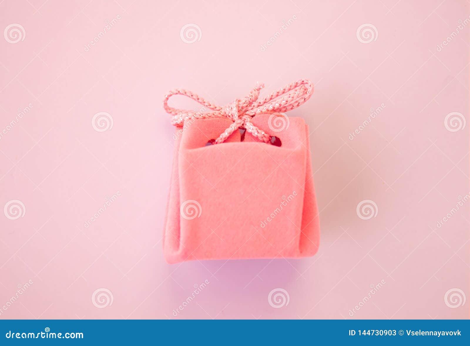 Closeup av en liten g?va som sl?s in med det rosa bandet liten askg?va grunt djupf?lt Lekmanna- l?genhet, b?sta sikt