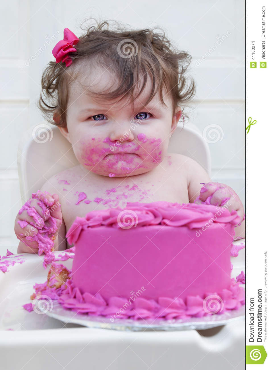 Girl First Birthday Outfit Pinterest: Closeup Of A Baby Girl Eating Her 1st Birthday C Stock