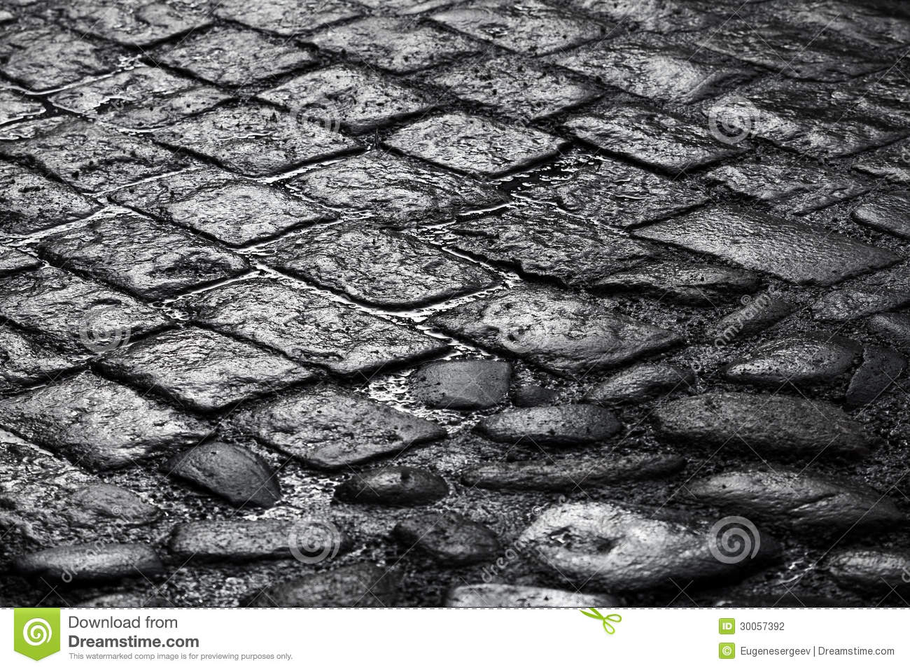 Old Wet Cobblestone Road Background Texture Stock