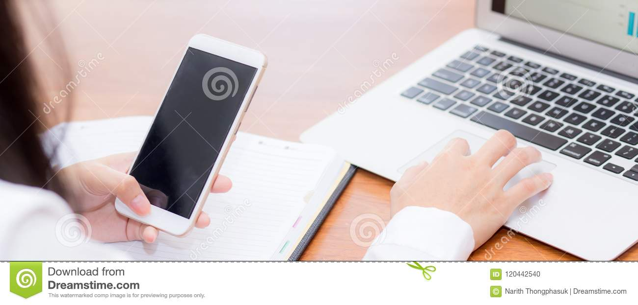 Closeup banner website asian woman sending email contact. gesture of finger pressing send on mobile smart phone and laptop