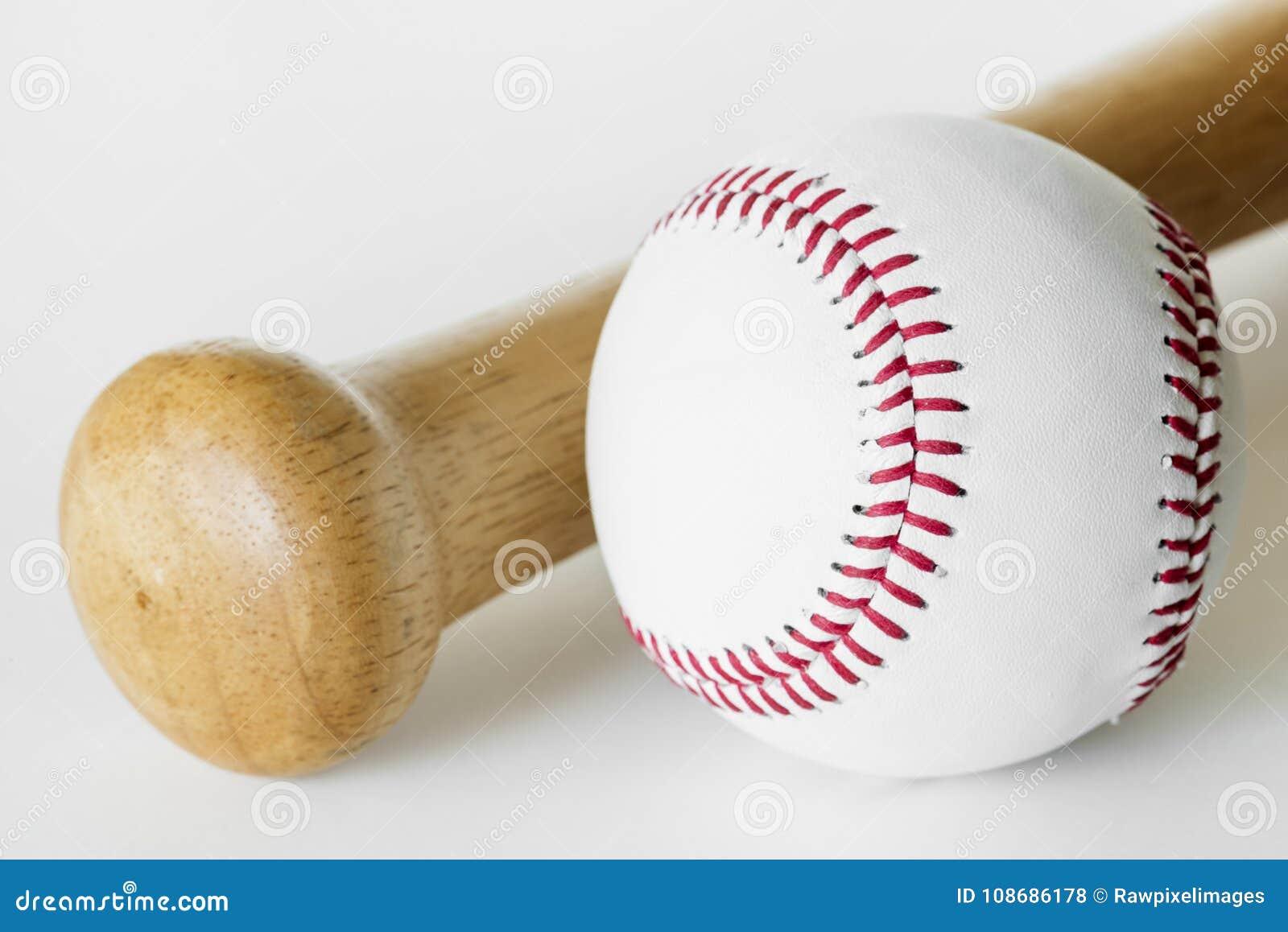 Closeup of baseball and bat
