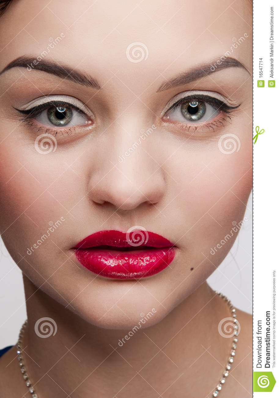 Closeup Beautiful Glamour Woman With Red Lips Stock Photo