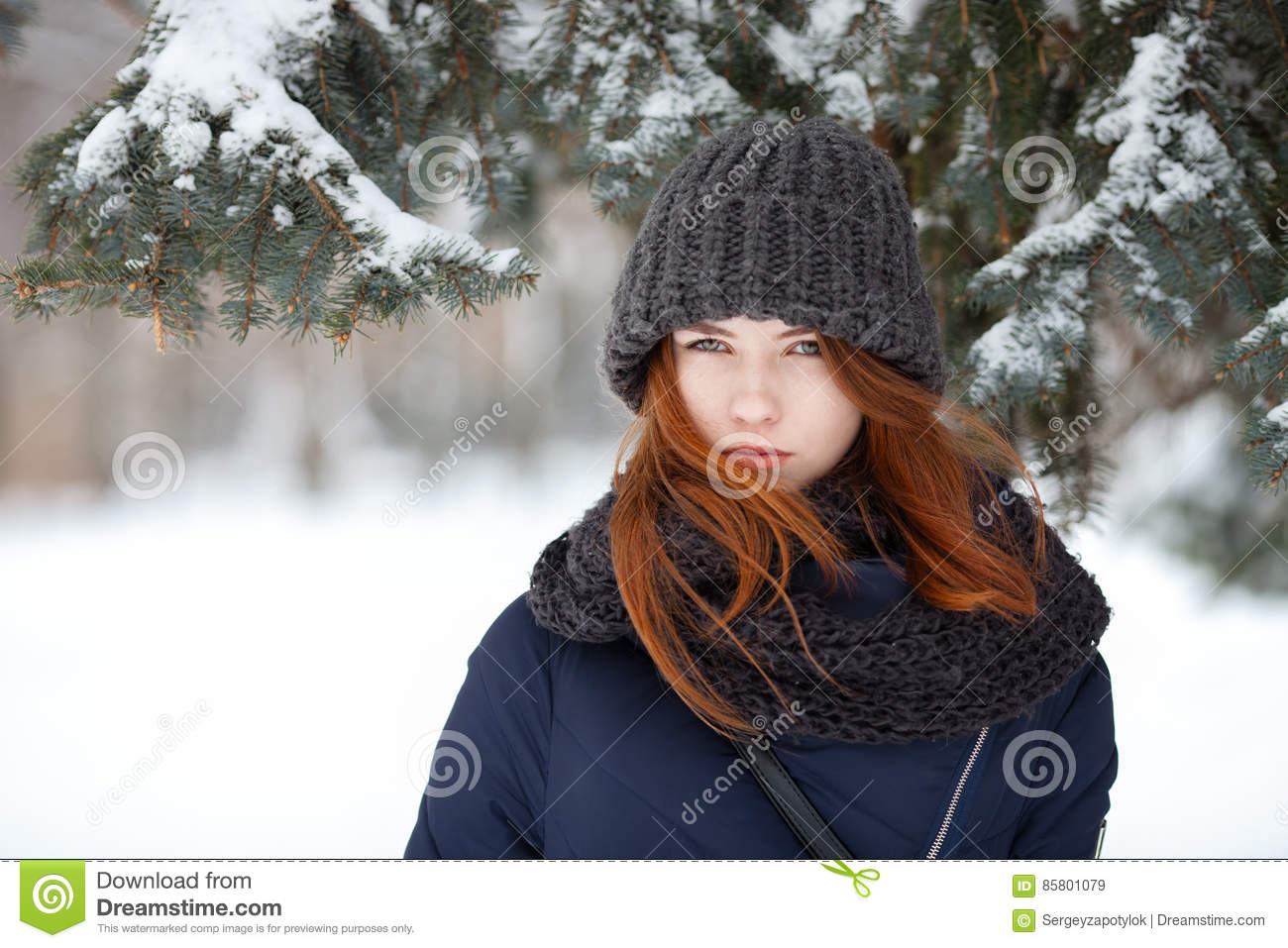Closeup beautiful winter portrait of young adorable redhead woman in cute knitted hat winter snowy park