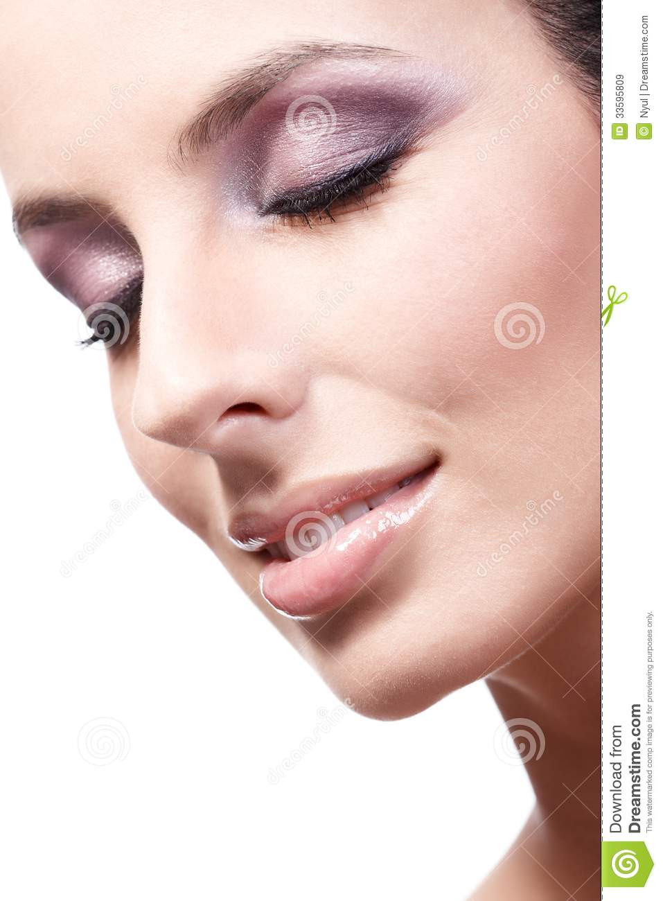 Closeup Beauty Portrait Of Young Woman Eyes Closed Stock ...