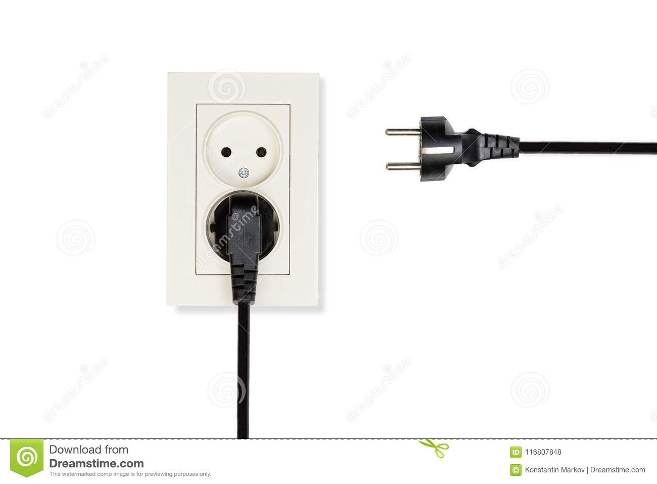 Beige Double Electrical Outlet And Two Wires With Plugs Stock Photo Wiring Black White