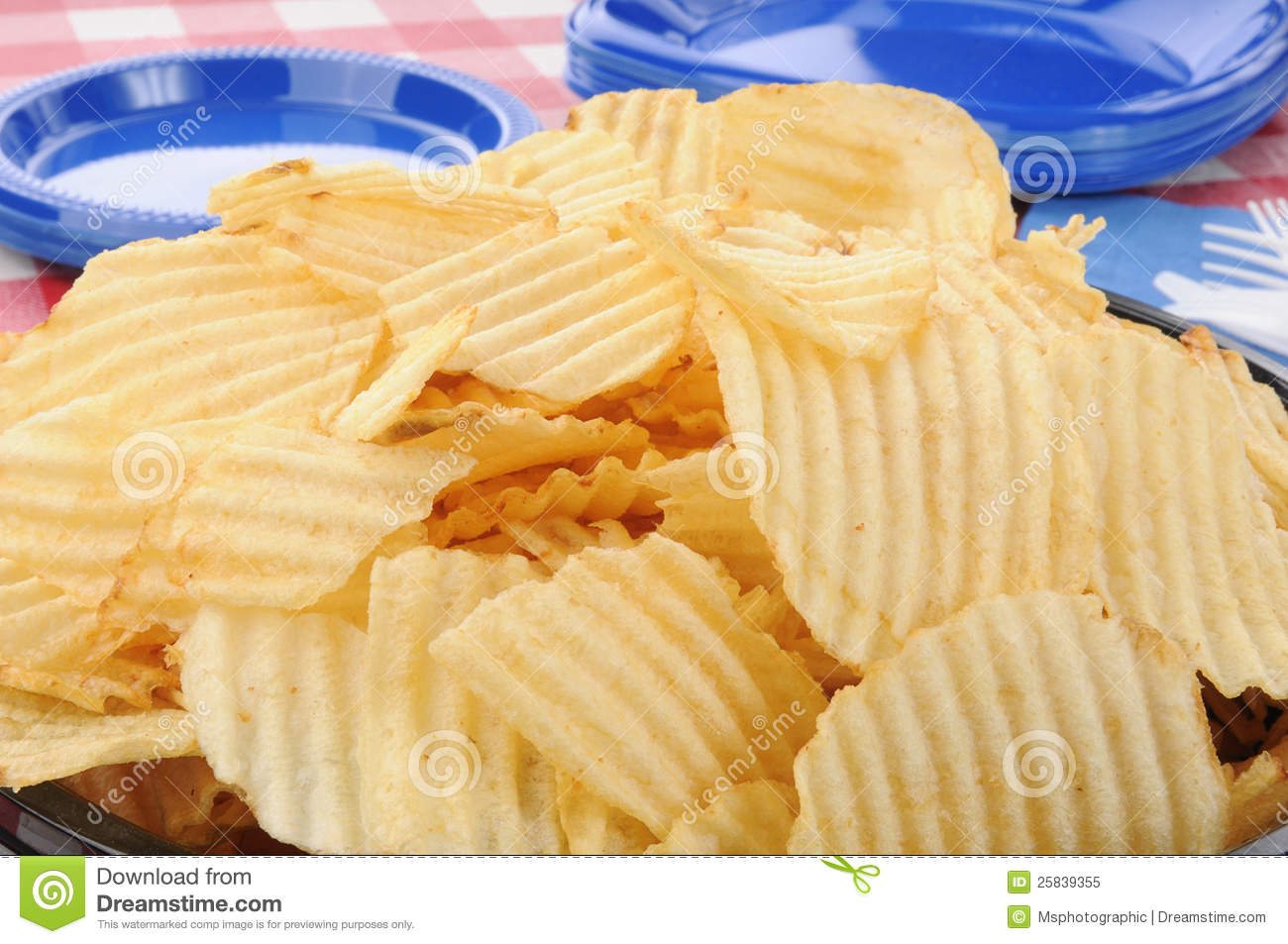 Closeup Of A Big Bowl Of Potato Chips Royalty Free Stock