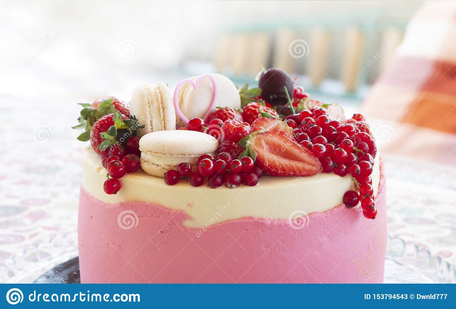 Admirable Closeup Of Birthday Cake With Fresh Summer Fruit Stock Image Personalised Birthday Cards Bromeletsinfo