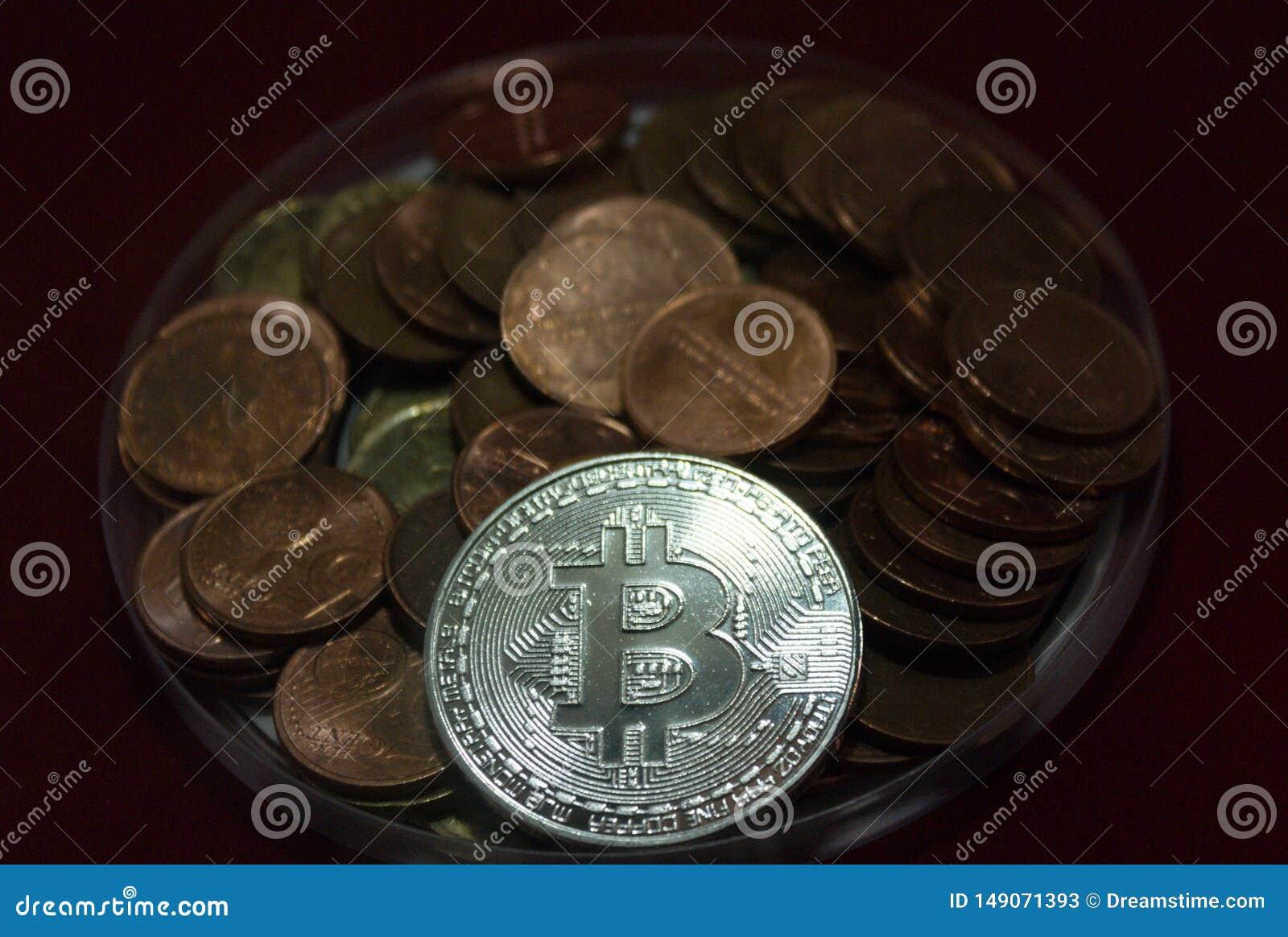 Closeup of a bitcoin