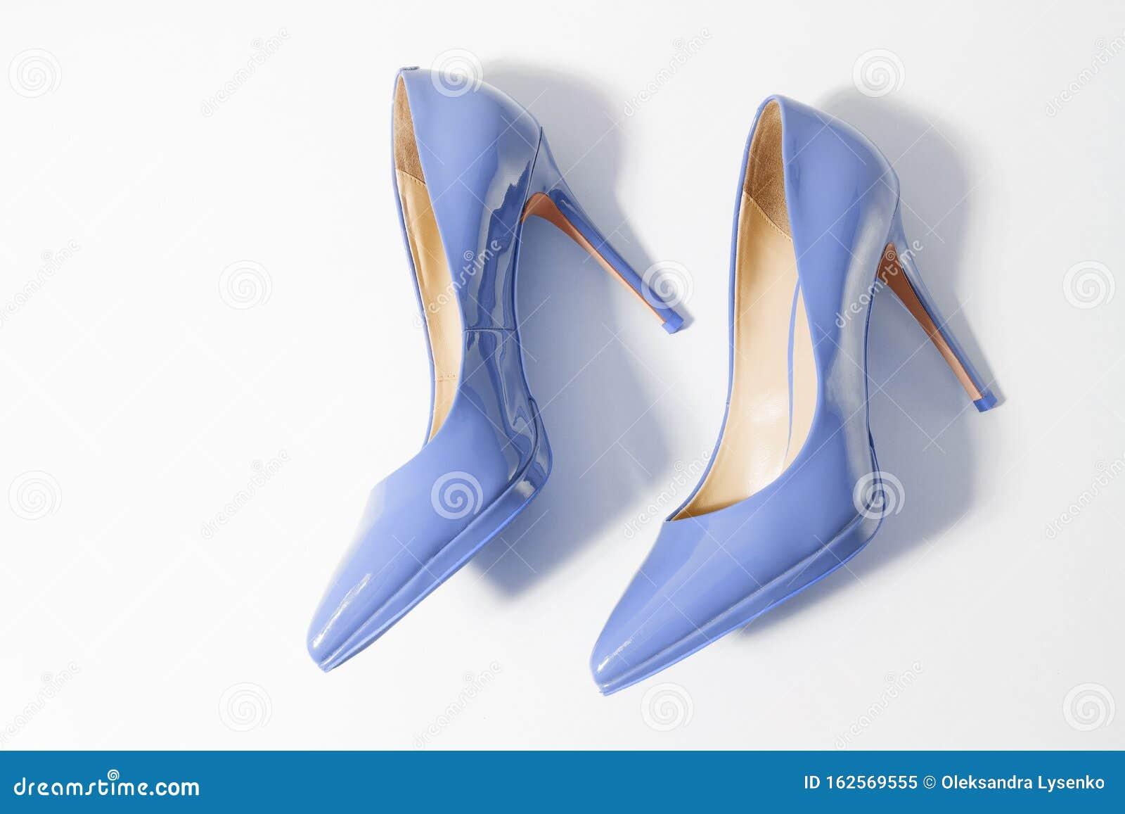 Closeup Blue Women Patent Leather Shoes