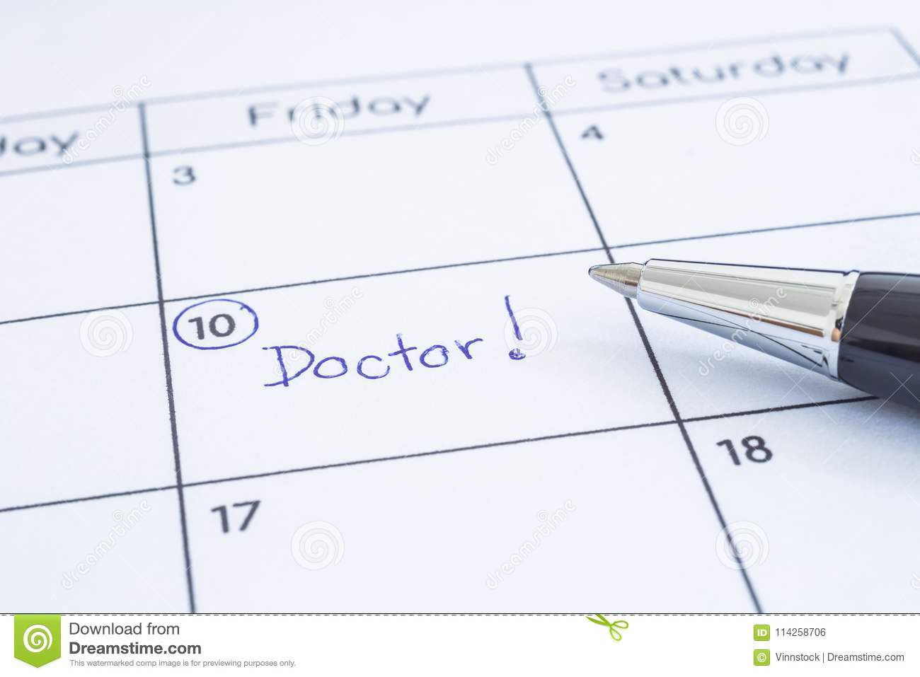 Doctor Appointment Date Writing On Calendar Stock Photo Image Of