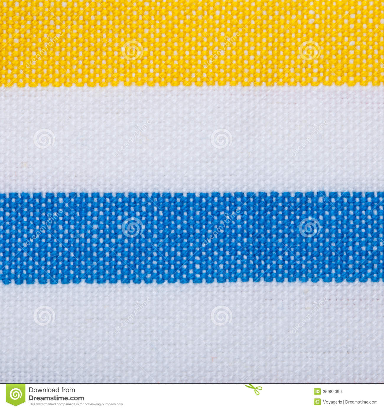 Closeup Of Blue Yellow Striped Textile As Background Or