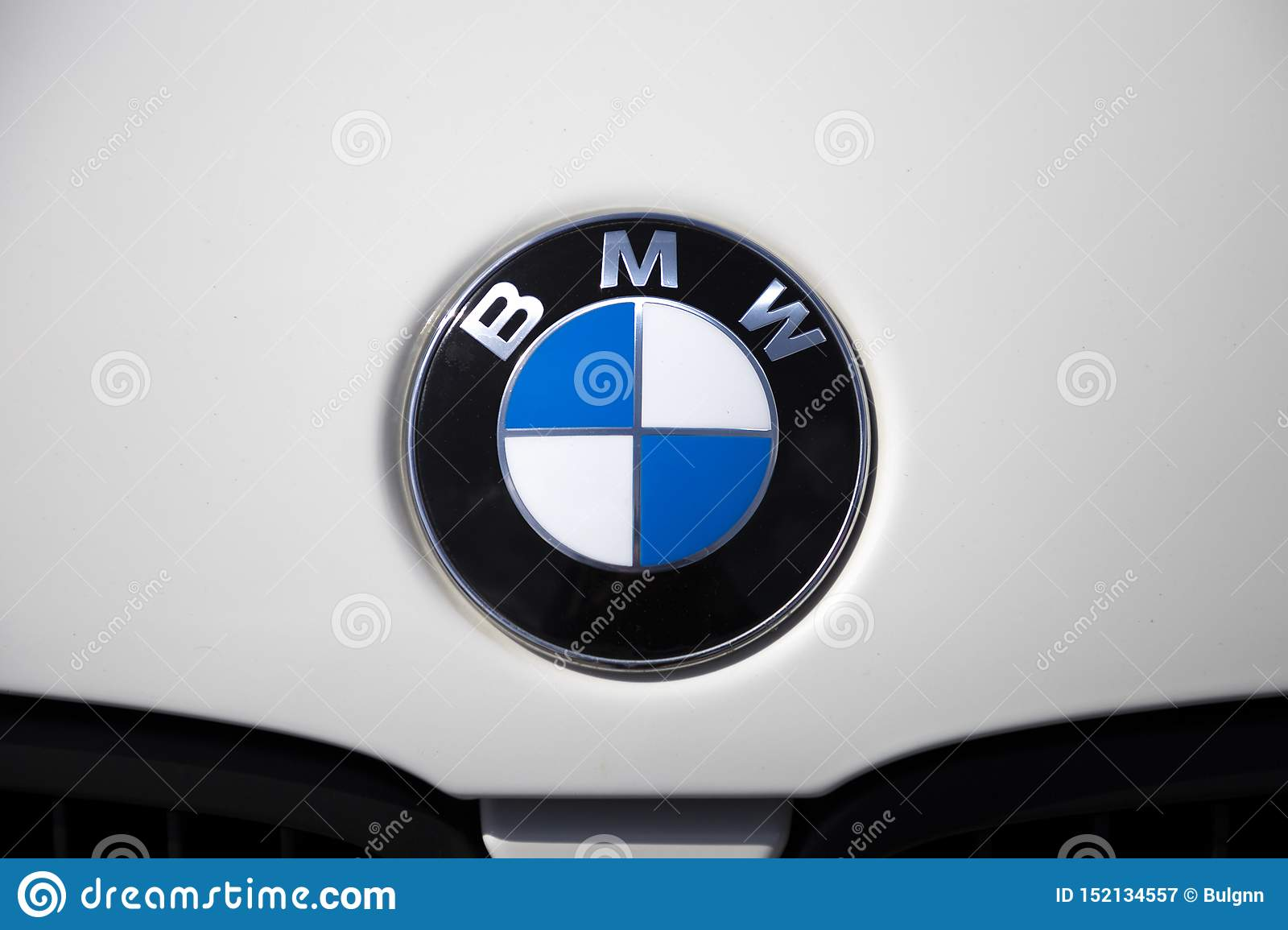 Closeup Of Bmw Brand Logo Chrome Car Emblem Sign On The White Car Hood Tuning Show Tomsk Russia 2019 06 15 Editorial Photography Image Of Automobile Closeup 152134557
