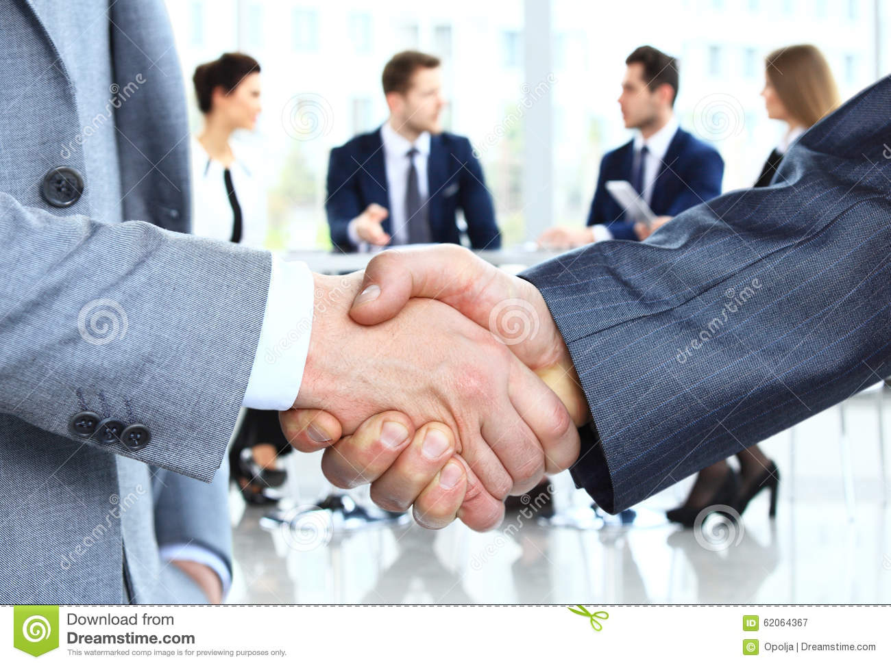 Closeup Of A Business Handshake People Shaking
