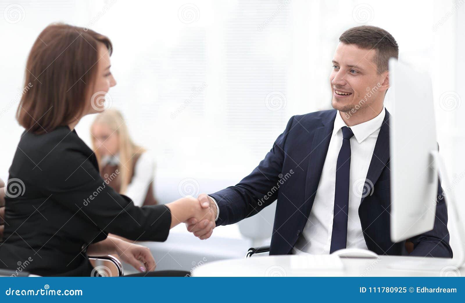 Closeup of a business handshake women business partner.the business concept.