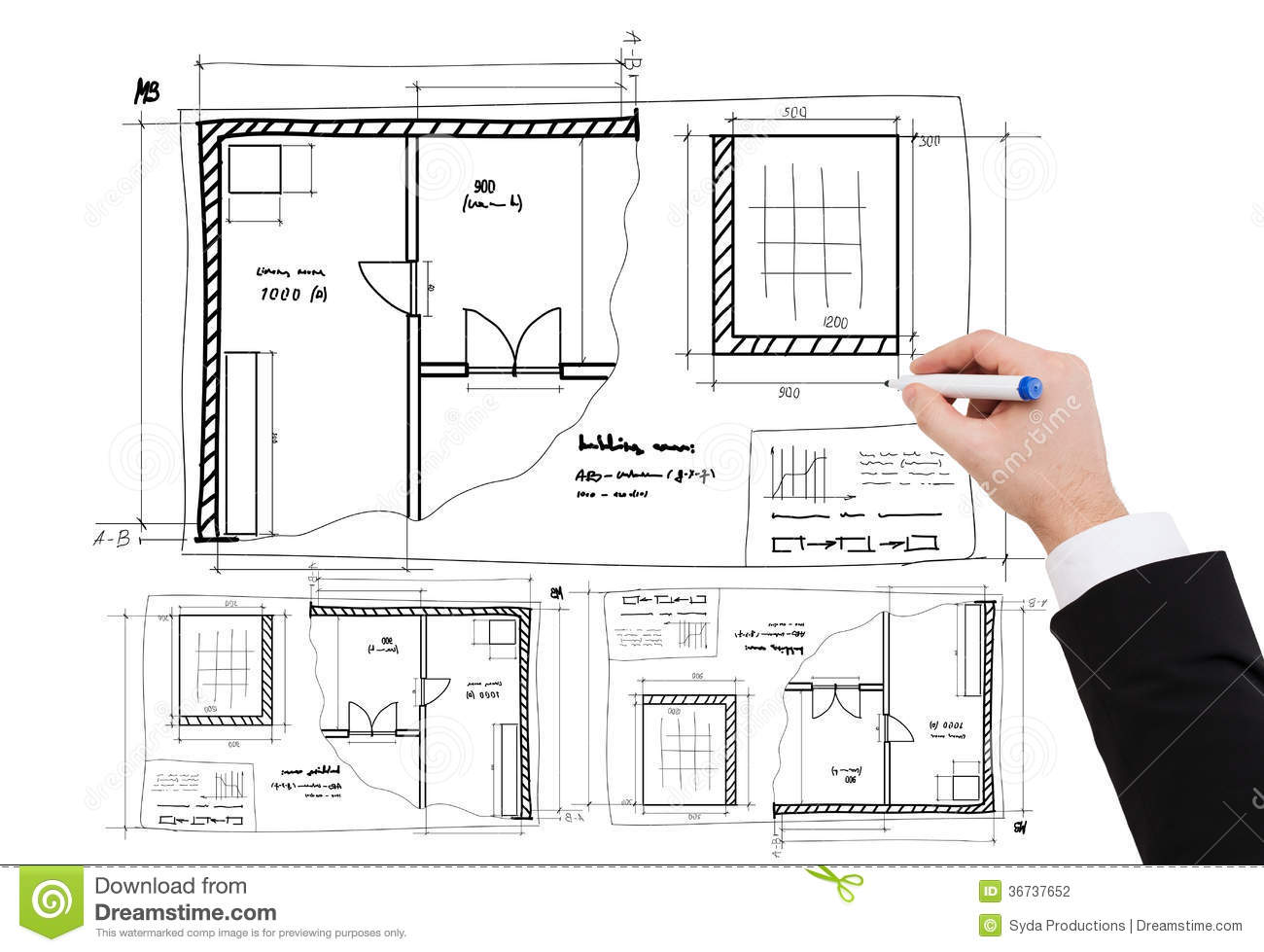 Closeup of businessman hand drawing blueprint stock photo for Architecte plan maison gratuit