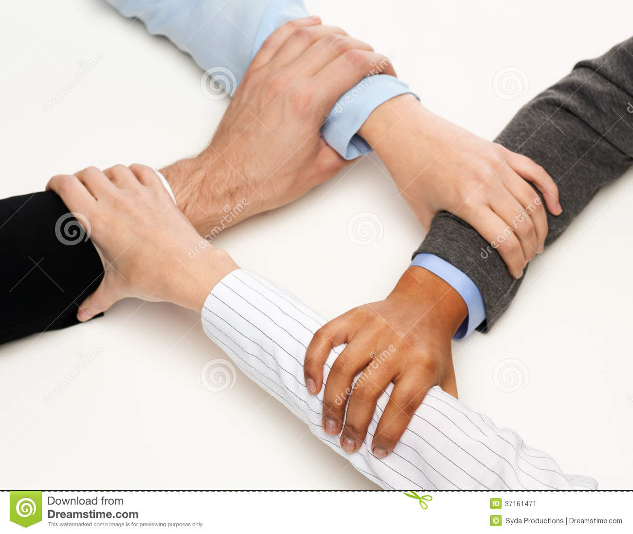 Closeup of businesspeople hands united