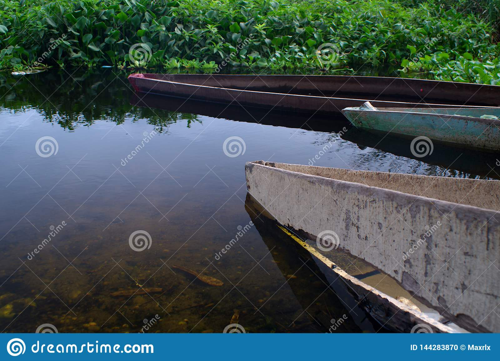 Closeup of canoes on the banks of Panguila Lagoon