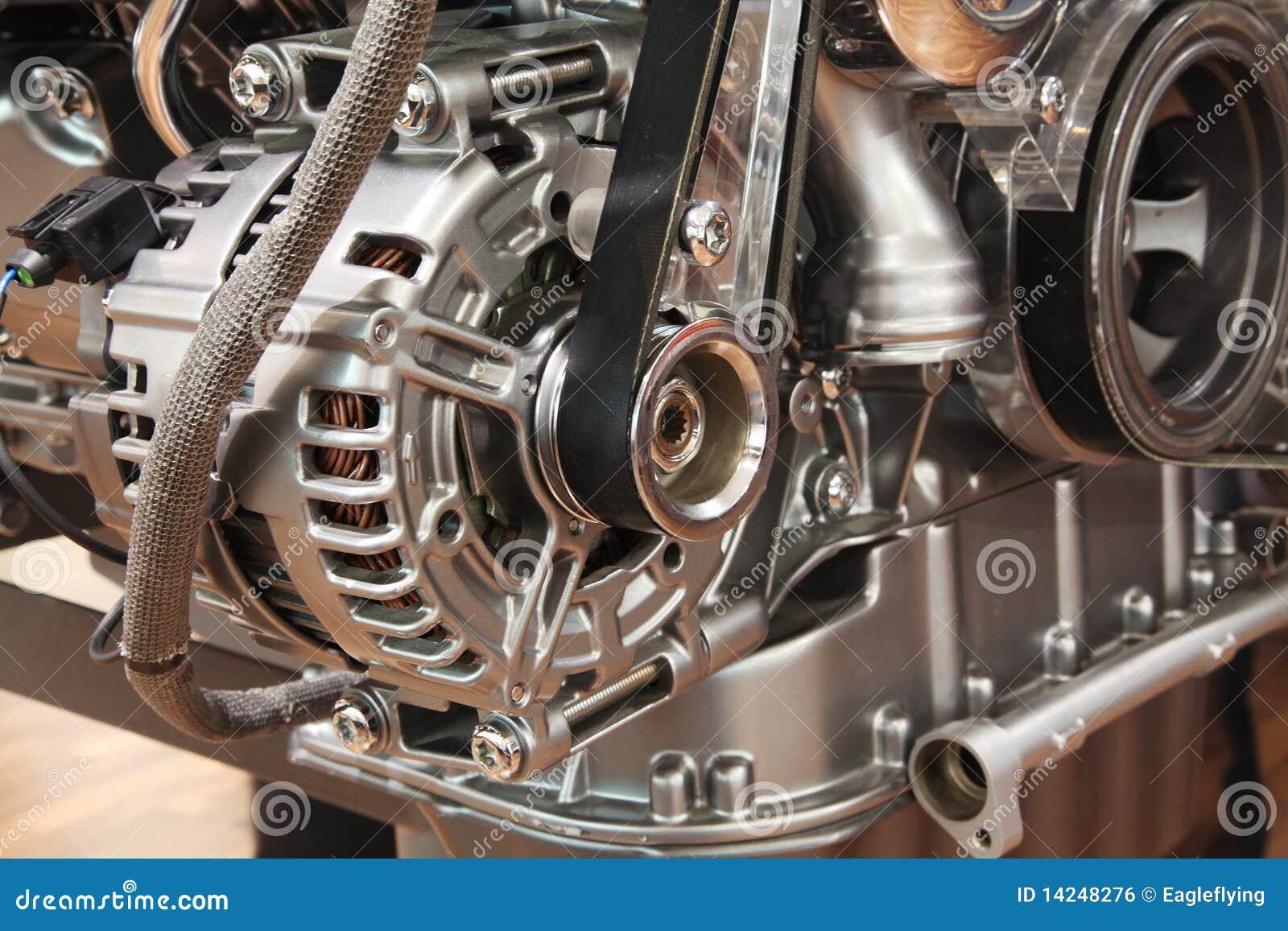Closeup of a car alternator
