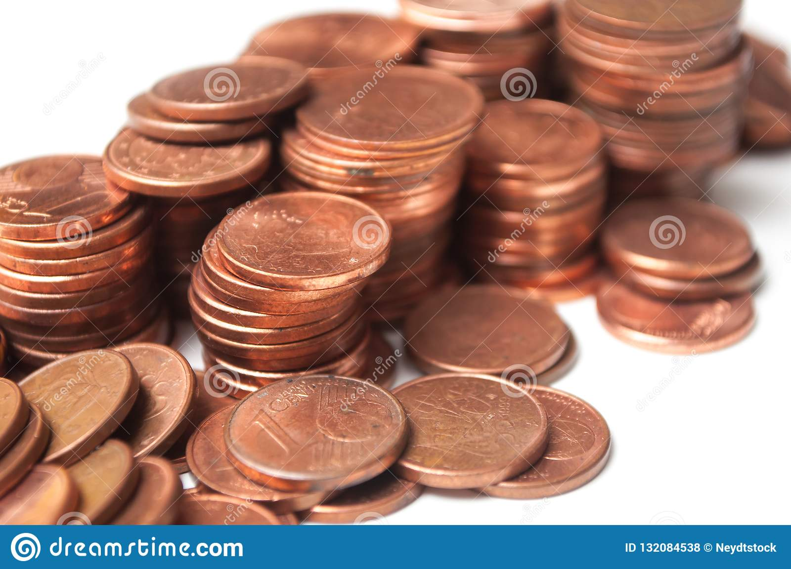 Cents Of Euro Coins Piles On White Background