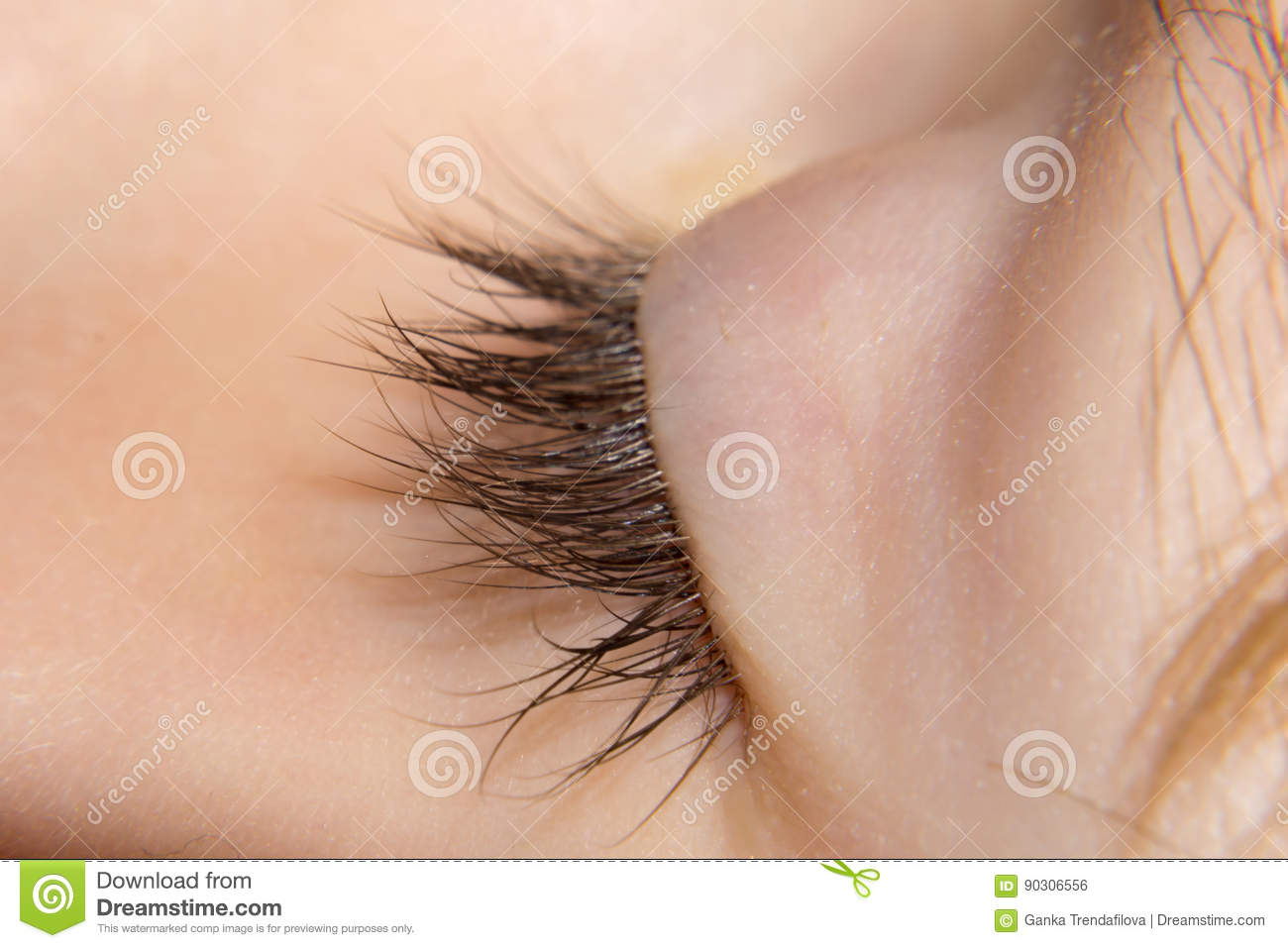 Closeup Of Childrens Eyelashes At A Sleeping Child Delicate Si