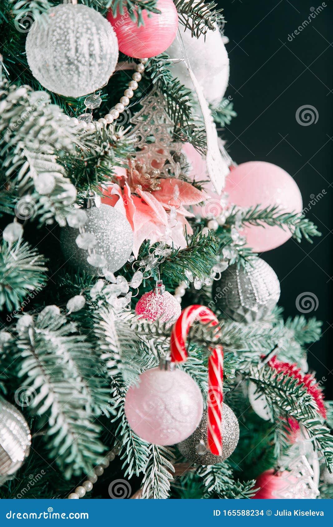Closeup Of Christmas Tree Decorations Stock Photo Image Of Bright Holiday 165588234