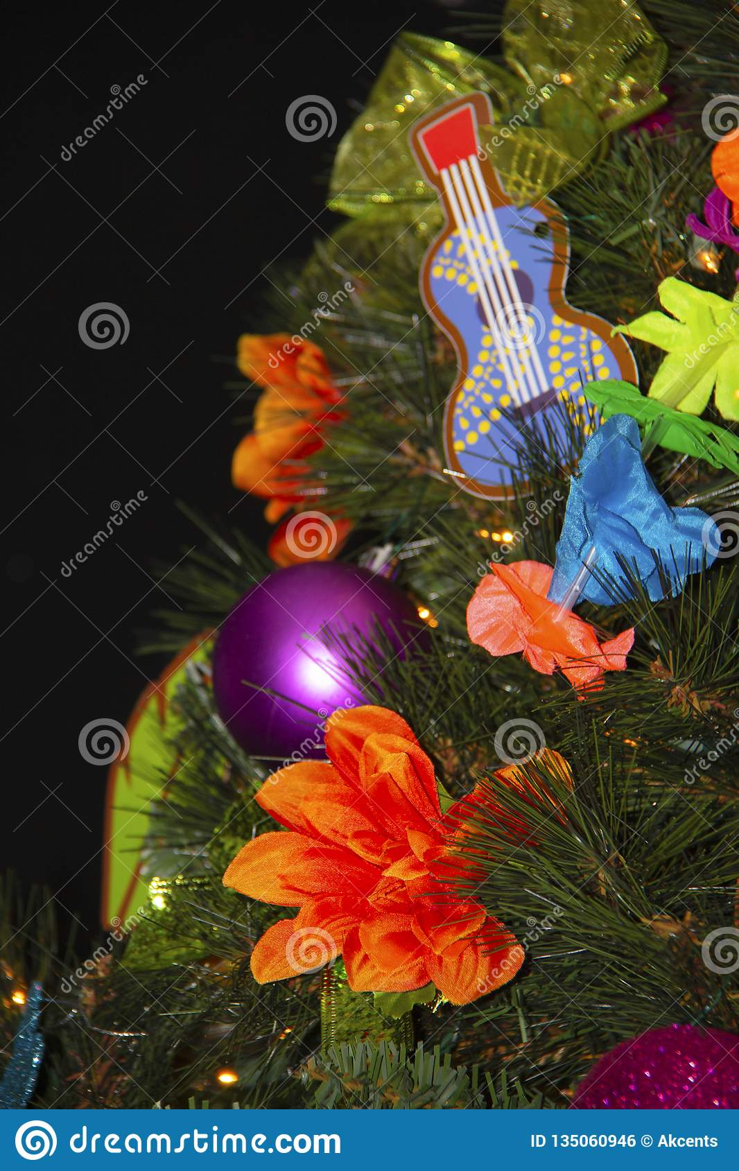 Closeup Of A Christmas Tree Docorations Stock Photo Image Of