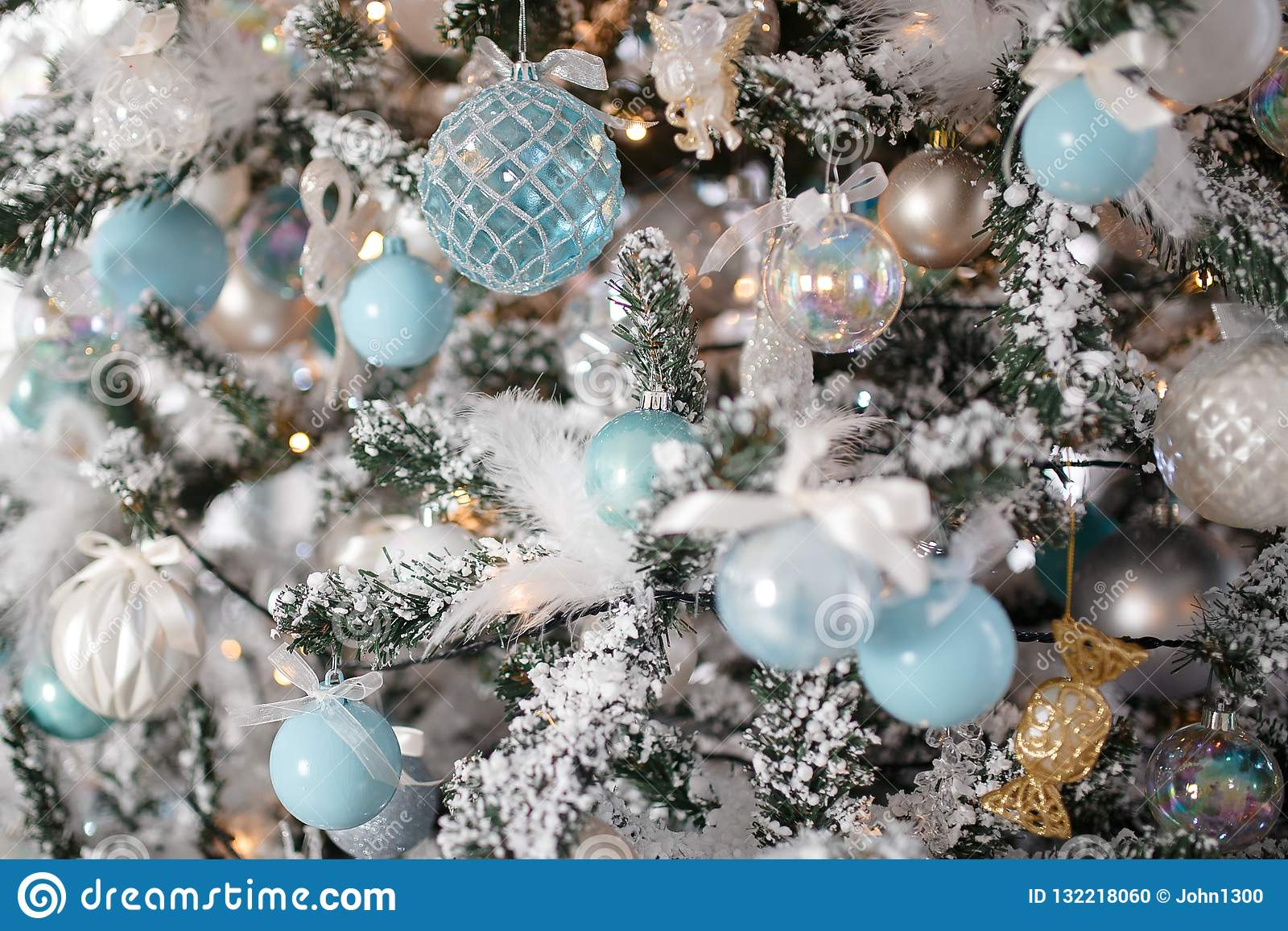 Closeup Christmas Tree Toy Light Background Stock Photo Image Of Blue Holiday 132218060
