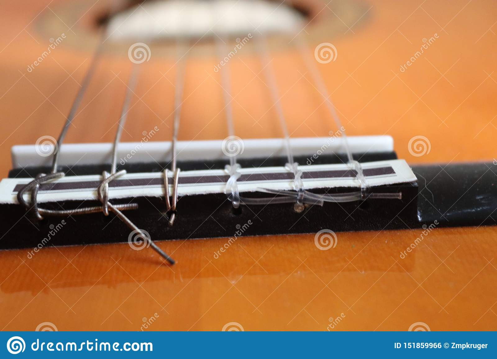 Closeup of classic acoustic guitar strings