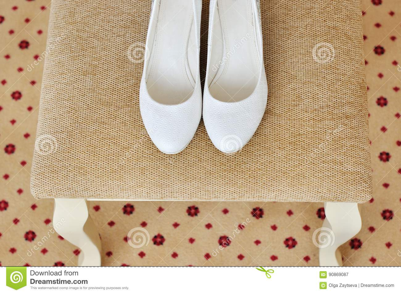 Closeup of a classic pair of white womens shoes