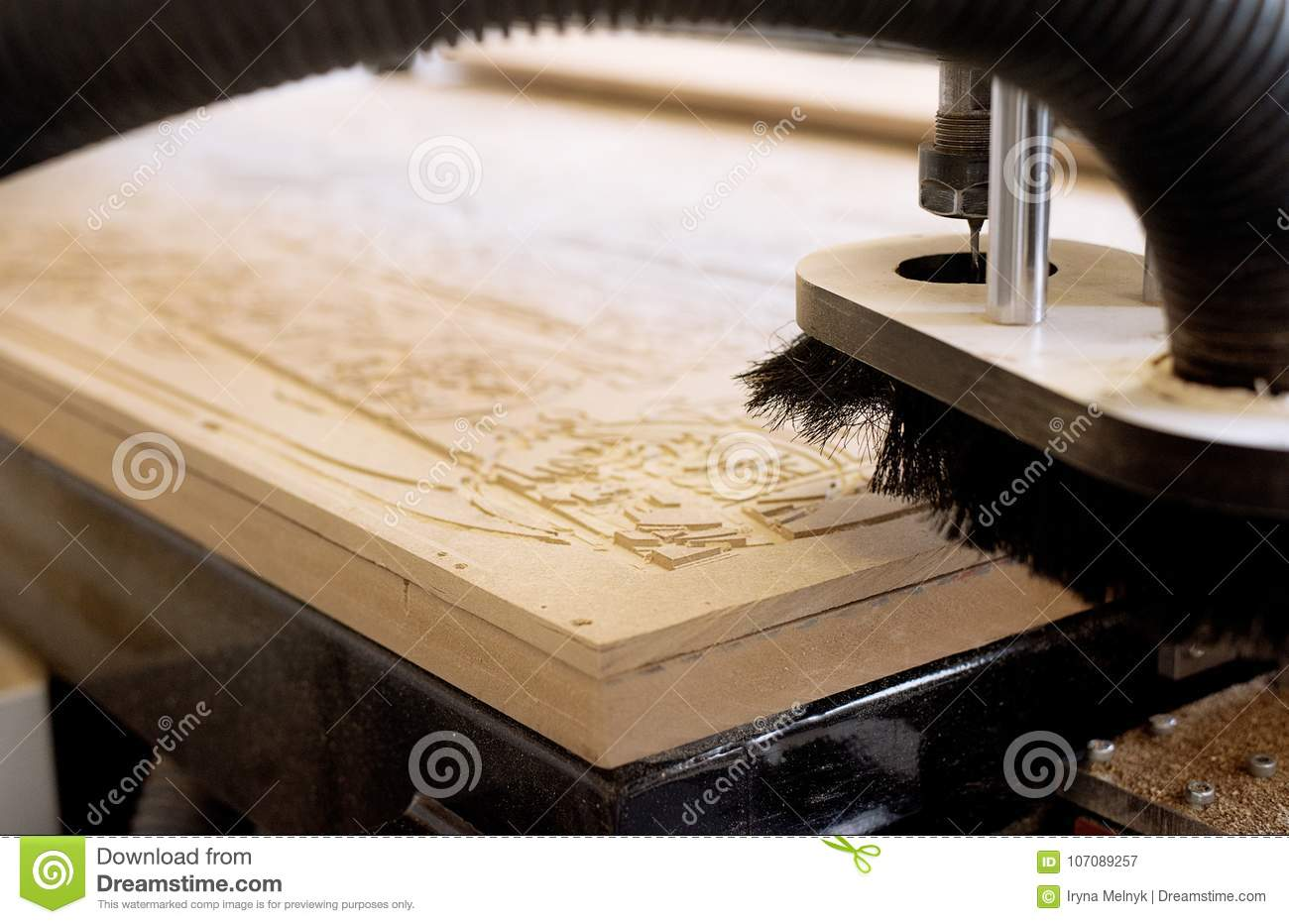 Cnc Wood Carving Machines Stock Image Image Of Hand 107089257