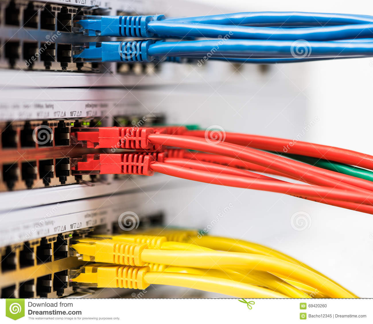 Closeup of colored computer network cables connected to a swi