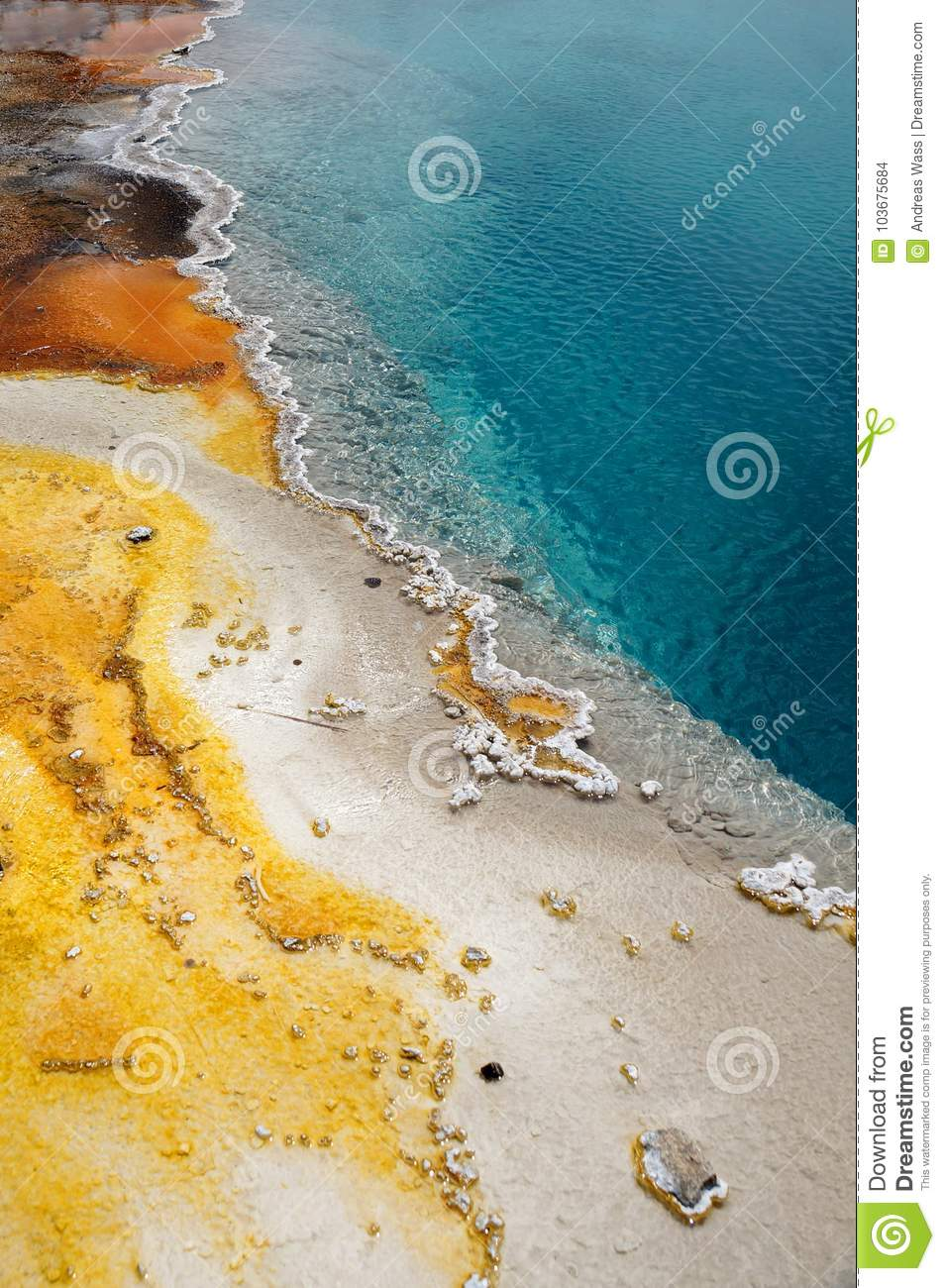Closeup of colorful details at a geothermal pool