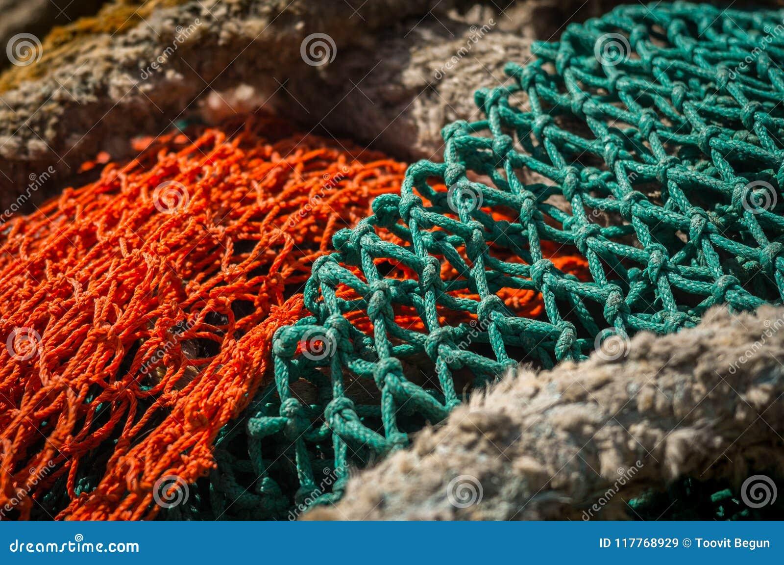 Closeup Of Colorful Fish Net Stock Image - Image of fishing, harbor ...
